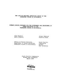 The 1987/88 national nutrition survey of the Federated States of Micronesia: summary report prepared for the Government and the Department of Human Resources of the Federated States of Micronesia
