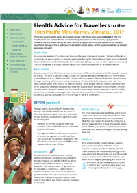 Health advice for travellers to the 10th Pacific Mini-Games, Vanuatu, 2017
