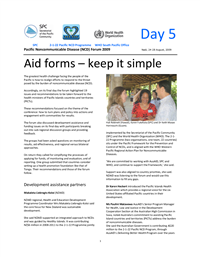 Pacific Non-communicable disease Forum 2009: aid forms - keep it simple