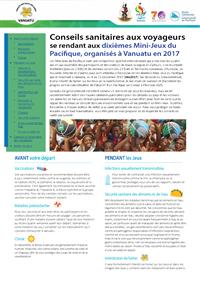 Conseils sanitaires au voyageurs se rendant aux dixièmes Mini-Jeux du Pacifique, organisés à Vanuatu en 2017