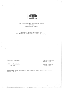 1986 national nutrition survey of the Kingdom of Tonga: Technical report prepared for the National Food and Nutrition Committee
