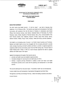 """2001 Pacific oral health summit """"A call for action"""": draft report"""