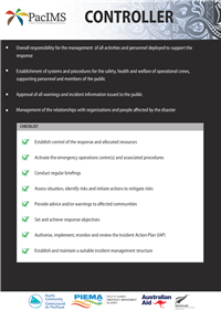 Pacific Incident Management Systems (PacIMS) Checklists