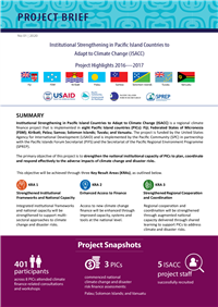 Institutional strengthening in Pacific Island Countries to Adapt to Climate Change (ISACC): Project Highlights 2016 - 2017