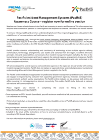 Pacific Incident Management Systems (PacIMS) Awareness Course - register now for online version July 2021