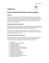 Tobacco: pictorial or graphic health warning on tobacco packaging